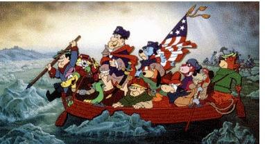 Crossing the Delaware Cartoon by Artist Gene Hazelton